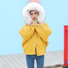 冬季新款韩版学院风BF宽松加厚加绒毛领棉衣棉服羊羔毛牛仔外套女