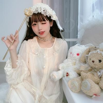 taobao agent 【Spot】Girl Lolita universal all-match lantern sleeve autumn and winter plus velvet Lolita with long-sleeved shirt
