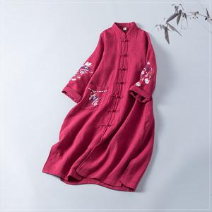 Mực dưới tim, gió quốc gia, bông và vải lanh thêu, có một áo sơ mi áo khoác, Trung Quốc retro khóa, áo gió dài, mùa xuân và mùa thu