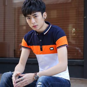男士有領短袖t恤韓版修身條紋男裝體恤青年翻領半袖撞色POLO衫潮