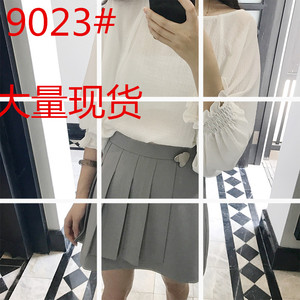 张大奕 jupe vendue 2017新款春季纯色百褶高腰A字裙短裙(2色)