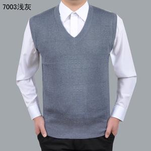 Mùa thu và mùa đông trung niên len dệt kim vest nam màu rắn vest trung niên cha vest vest vest cha