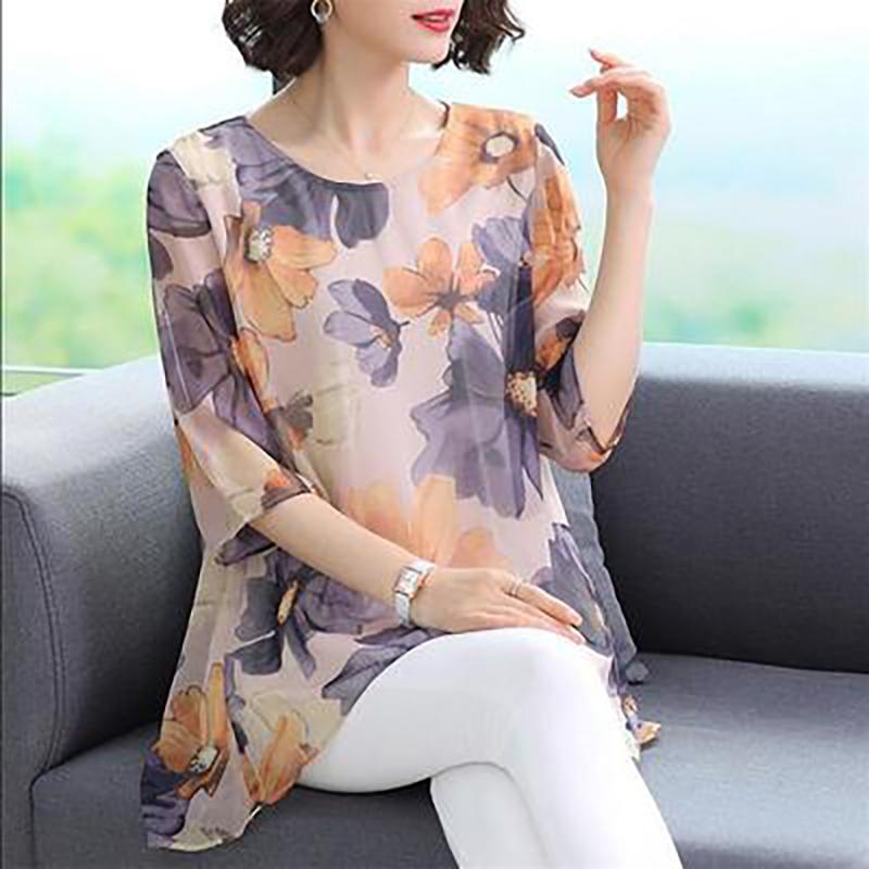 妈妈夏装雪纺上衣女2020新款韩版中年女装印花宽松洋气遮肚小衫潮