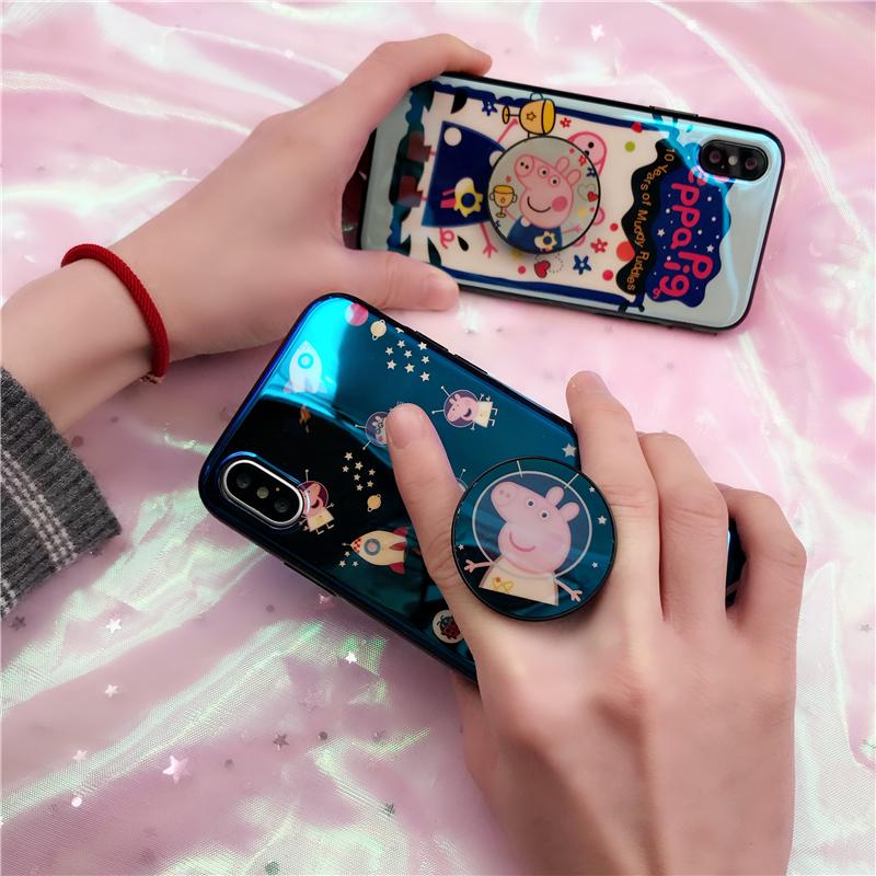 小猪佩奇社会人抖音苹果8手机壳iphonex气囊支架卡通7plus情侣款6【优惠后5元包邮】