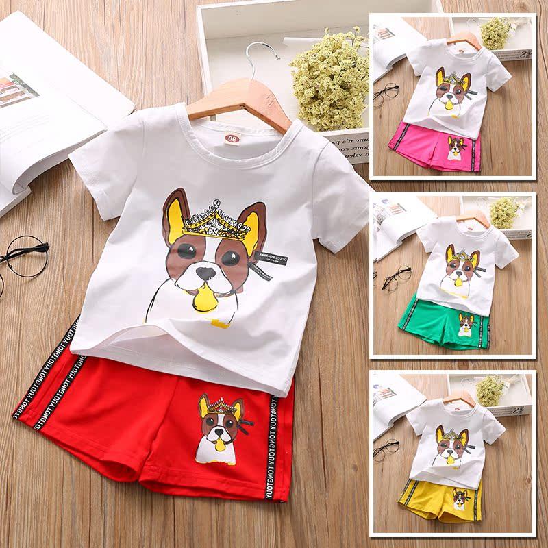 Phù hợp với mùa hè 2018 chàng trai và cô gái mới hai mảnh T-Shirt phim hoạt hình bé quần short trẻ em bình thường puppy áo sơ mi