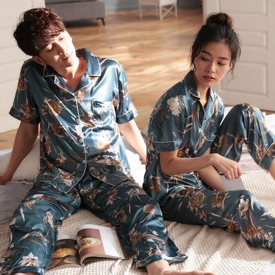 情侣睡衣夏季冰丝绸短袖睡衣