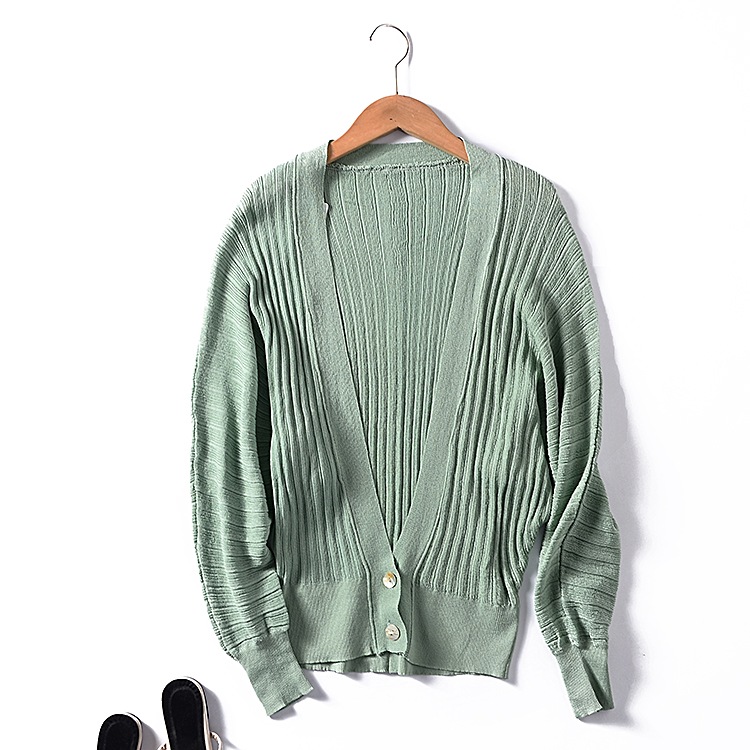 G ¥ 24 dài tay V-Cổ áo len đa năng mùa thu 2018 mới lỏng mỏng màu rắn đơn ngực cardigan
