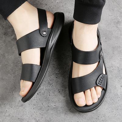 真皮凉鞋男士2021夏季韩版软底时尚防水防滑沙滩鞋休闲凉拖两用潮