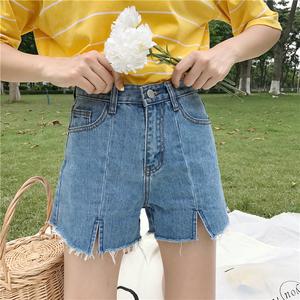 Mùa hè mới của Hàn Quốc phiên bản của hoang dã cao eo là mỏng và dày cạnh chia rộng quần chân sinh viên denim lỏng quần short của phụ nữ nóng quần