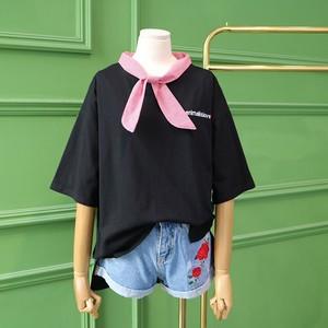 Q9-3 Thiên Thần cửa hàng mùa xuân và mùa hè mới kẻ sọc nhỏ tie khâu lỏng T-Shirt áo sơ mi nữ 42480
