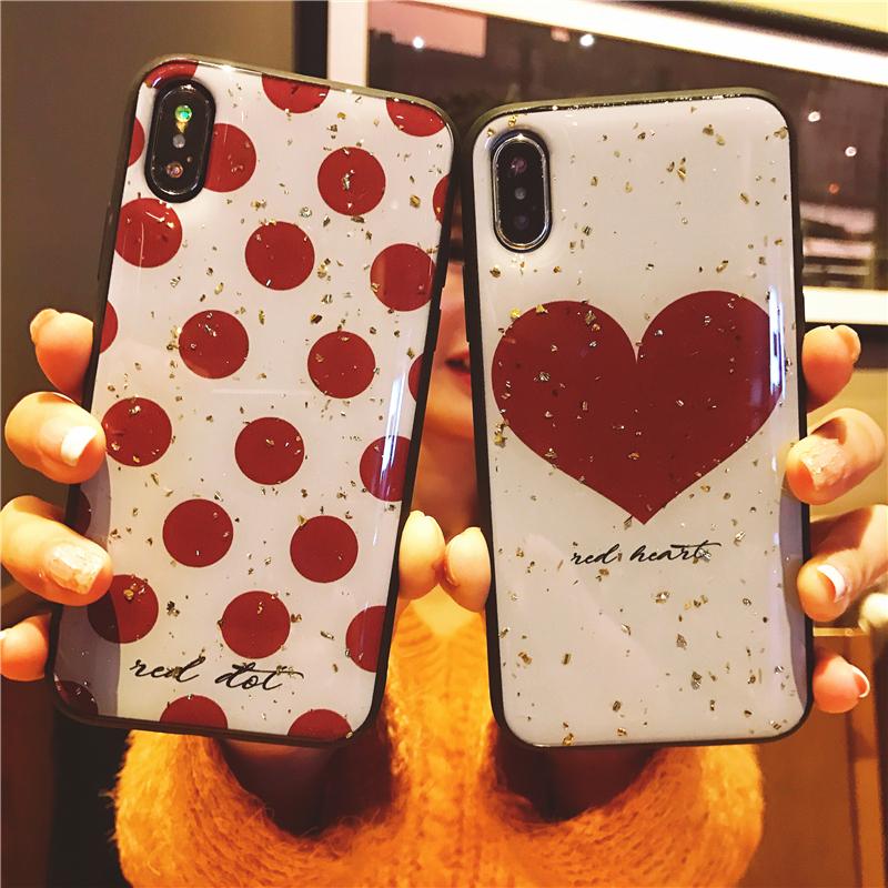 波点爱心iphoneXS MAX手机壳苹果X个性7plus时尚XR欧美6s潮女8p闪_领取10元淘宝优惠券