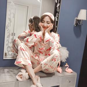 实拍8215#火烈鸟冰丝开衫三件套简约韩版休闲甜美家居服套装睡衣