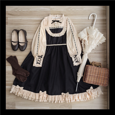taobao agent Original design Shu Fu Lei op Palace retro lace stitching heavy bow elegant dress lolita