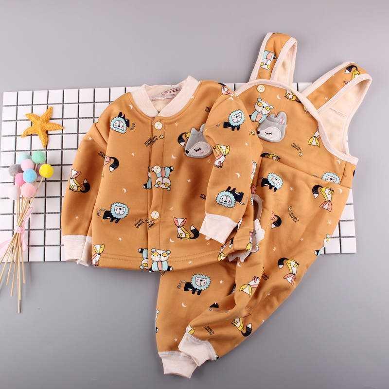 Bộ đồ lót nhiệt cho bé cộng với quần yếm nhung mùa thu đông cho bé quần mùa thu dày quần quần nỉ - Quần áo lót