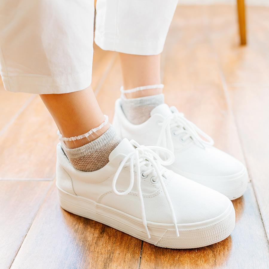 2018春季新款 女士薄款网眼花边森系马卡龙纯色网纱短袜子 配白鞋