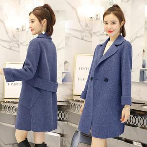 Chống mùa giải phóng mặt bằng 2018 mới của Hàn Quốc phiên bản của áo khoác của phụ nữ dài smog áo len màu xanh lỏng áo khoác mỏng