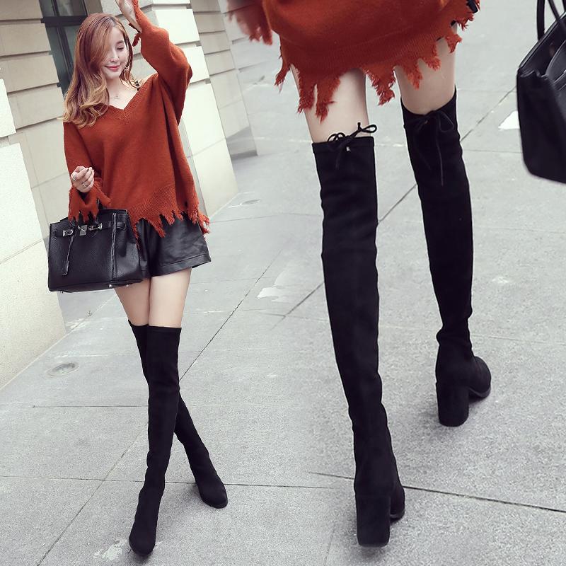 过膝靴长靴女秋冬季女鞋2017新款加绒高筒靴粗跟