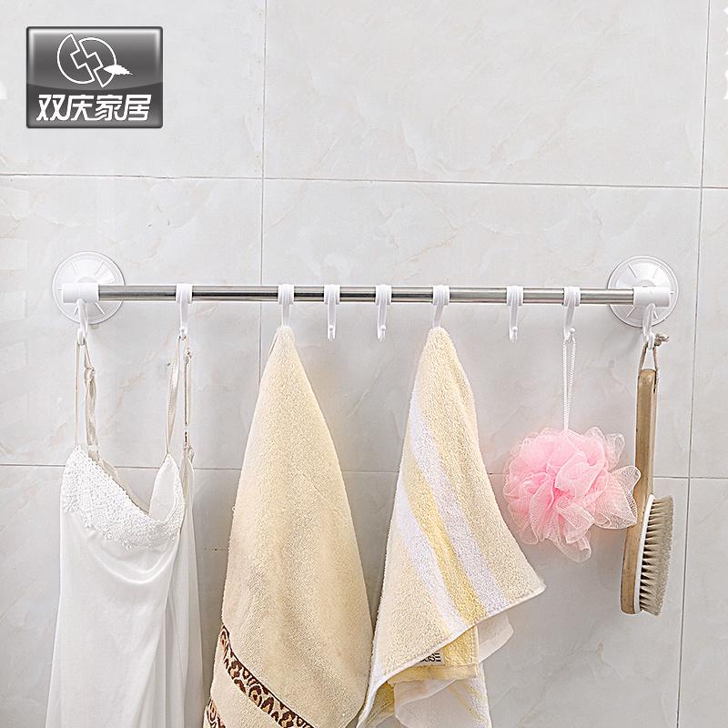 毛巾架单杆吸盘壁挂浴室卫生间不锈钢304单层挂衣架免打孔【优惠3元包邮】