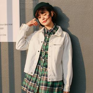 小视频实拍 2018春季新品韩版拉链长袖简约修身文艺牛仔短外套女