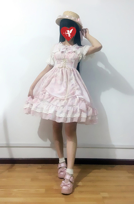 taobao agent Soufflesong exclusive design【Antique clock sp】Chiffon printed dress jsk out of stock
