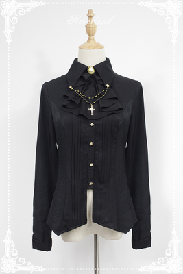 taobao agent Soufflesong exclusive design【Ode to the Dark Night】lolita point collar stand collar bead chain long sleeve shirt
