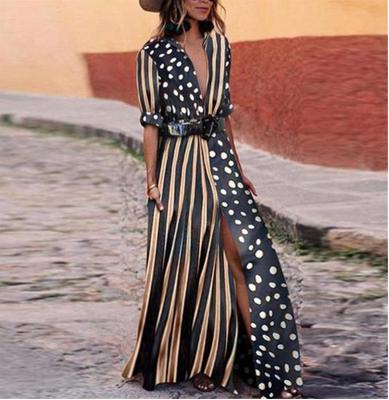 外贸欧美速卖通条纹波点拼色收腰长款连衣裙8401