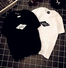 实拍 新款BF风错位字母男女款短袖T恤休闲宽松情侣装潮