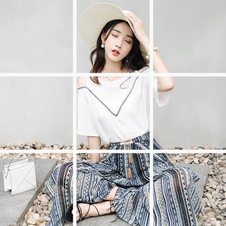 套装女夏2018新款温柔风度假露肩潮裙裤时尚两件套雪纺阔腿裤套裤