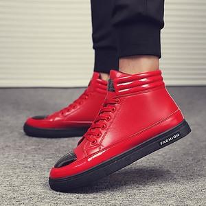 秋冬季時尚男鞋透氣運動鞋男士休閑鞋新款高幫平底舒適耐磨板鞋