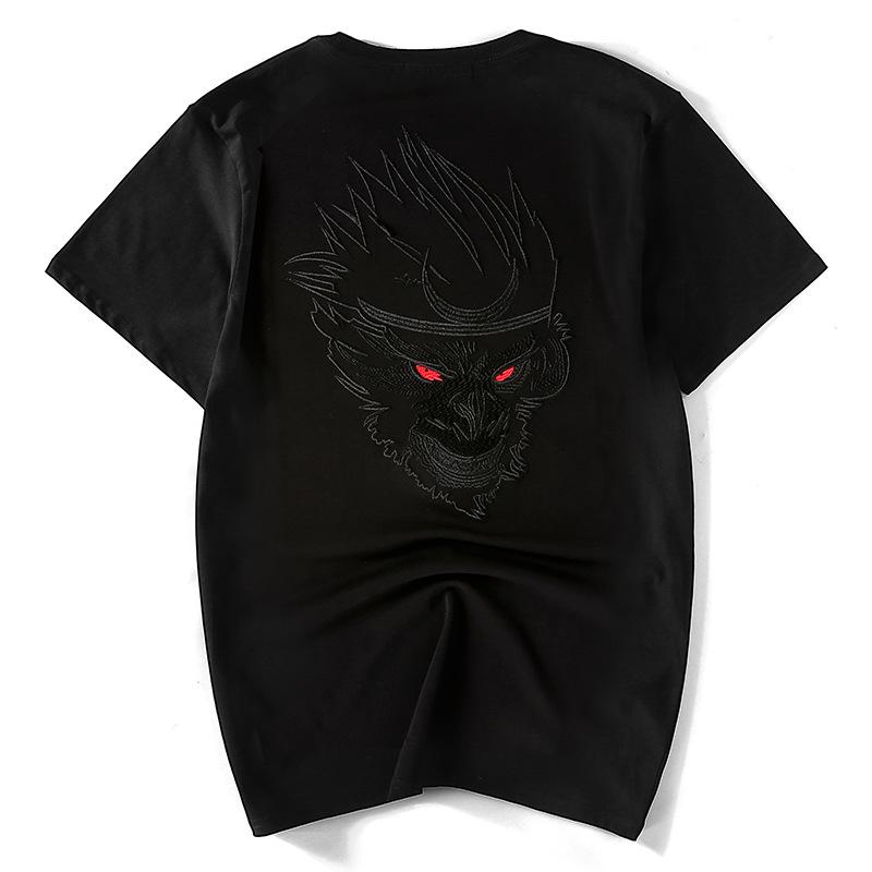 创意男T恤中国风创意半袖火力全开悟空短袖刺绣半袖