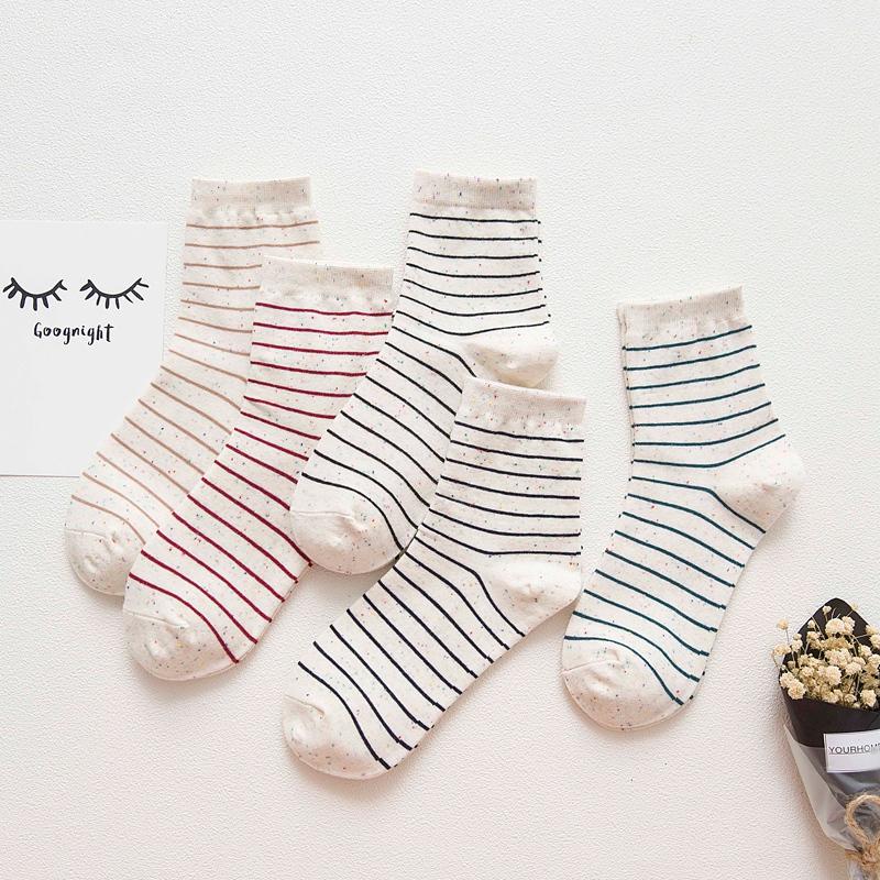 5双纯棉中筒女袜子韩国日系学院风