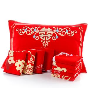 Bông cưới gối khăn cặp cưới chính hãng món quà cưới lớn màu đỏ bông gạc lễ hội gối khăn