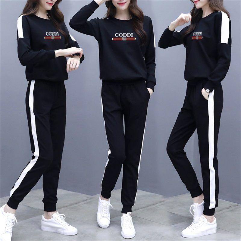 单件/休闲运动套装女2019早秋新款时尚宽松显瘦200斤胖妹妹两件套