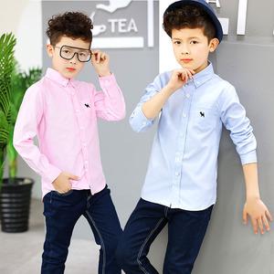 Quần áo trẻ em cậu bé áo sơ mi 2018 mới mùa xuân và mùa thu Hàn Quốc phiên bản của áo sơ mi dài tay trẻ em trong áo trẻ em lớn áo sơ mi mỏng