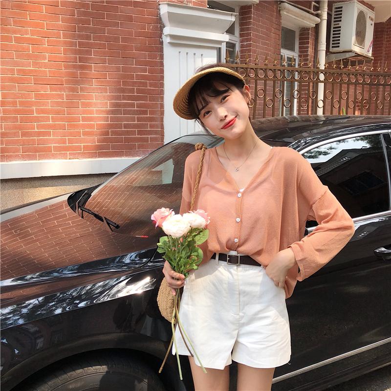 Hàn quốc đầu mùa thu mới màu rắn đơn giản V-Cổ ánh sáng đan kem chống nắng cardigan lỏng giảm béo hoang dã áo khoác sinh viên