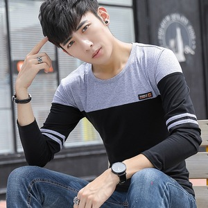 实拍新款 男士长袖t恤圆领拼色棉韩版修身套头男式t恤1037-2123#