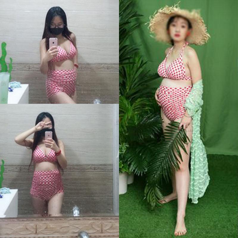 Cao eo Hàn Quốc big breast bikini phụ nữ mang thai áo tắm nữ chia chất béo mmEF cup kích thước lớn cho con bú áo tắm sau sinh