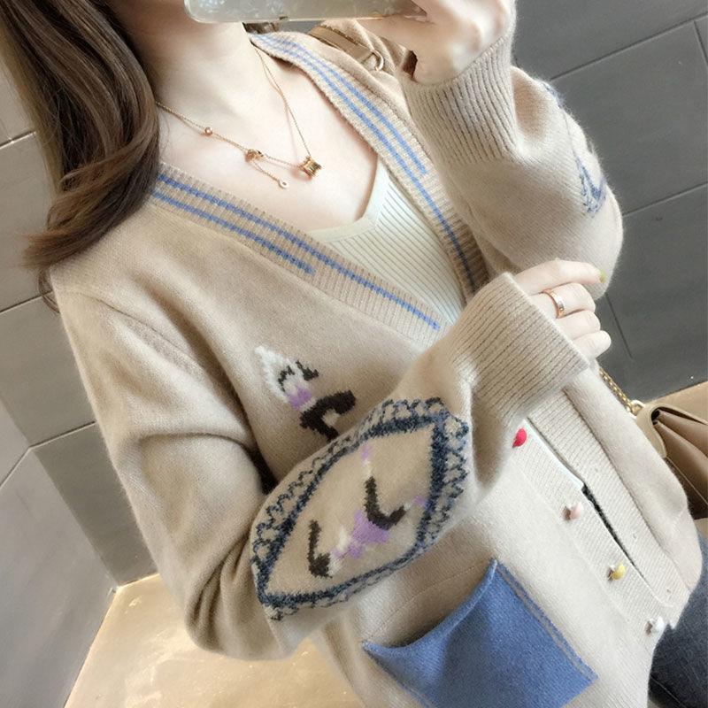 春装2021年新款韩版女士毛衣女宽松外穿网红针织开衫外套春秋上衣
