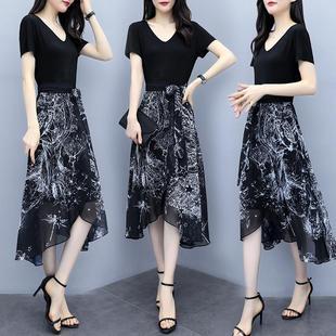 夏季收腰显瘦连衣裙流行雪纺气质长裙女装