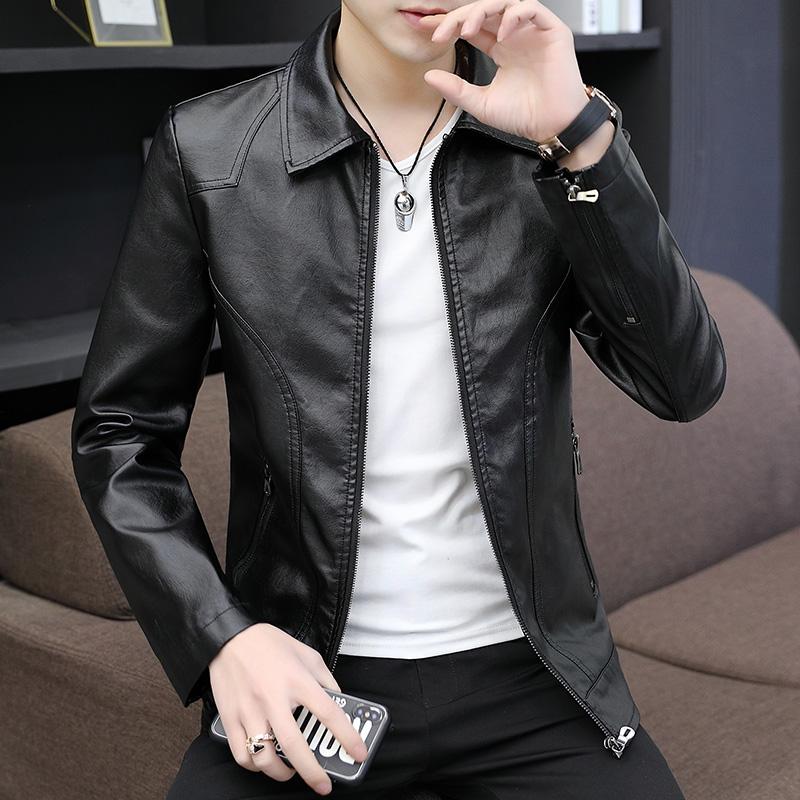 新款春秋皮衣男青年潮流季修身韩版帅气男士秋装外套皮夹克男