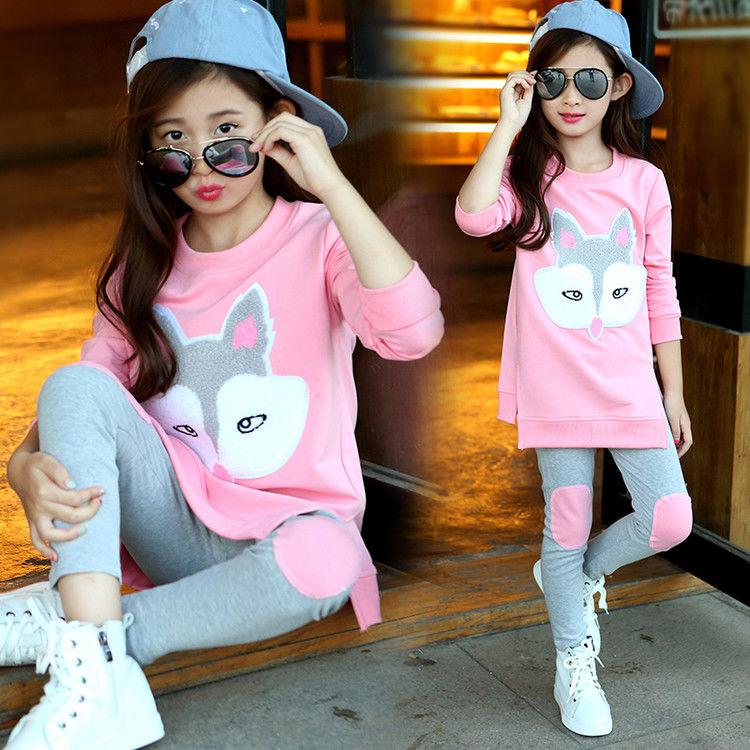 秋款中大女孩童春超洋气长袖+裤两件套装限10000张券
