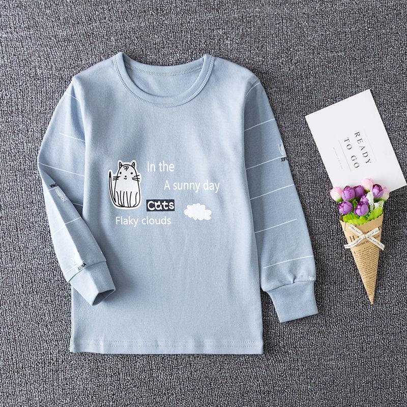 儿童纯棉内衣2021春季新款韩版男女童上衣�全棉打底衫宝宝衬衣