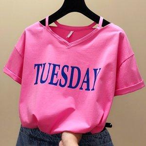 95棉半袖2020新款v领上衣韩范露肩小心机t恤女夏季宽松印花短袖