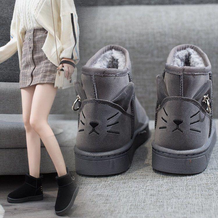 2020雪地靴女可爱后跟猫★咪款真皮韩版加绒加厚保暖防滑学生棉鞋