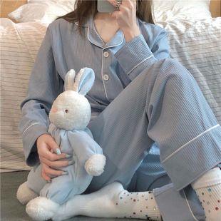 簡約休閒棉韓國黑白睡衣女學生韓版秋季新款