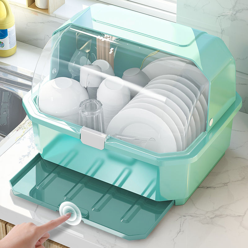 厨房碗筷〓收纳盒特大小号塑料碗柜抽屉式沥水碗架家用收纳箱置物架