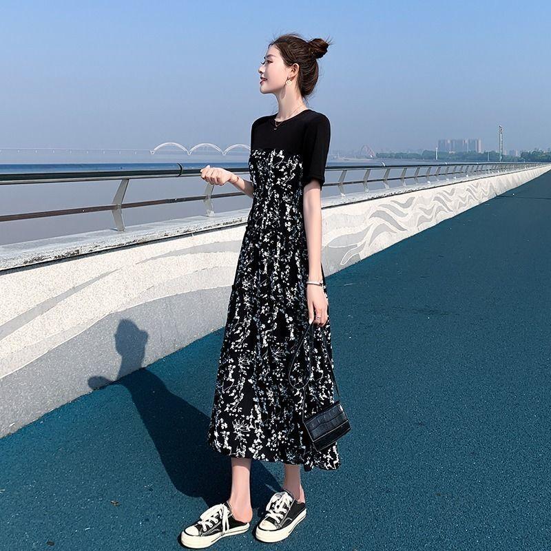 2020夏装新款连衣裙女单件风中长款拼接碎花裙气质高腰显瘦长裙夏