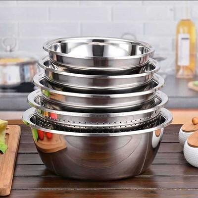 【五件套】不锈钢盆加厚加深圆形盆子家用厨房装汤和面洗菜沥水盆