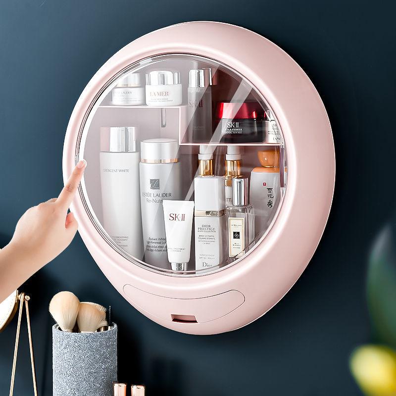 化妆品收纳盒挂墙免打孔化妆盒收纳盒@ 卫生间浴室收纳大容量防尘