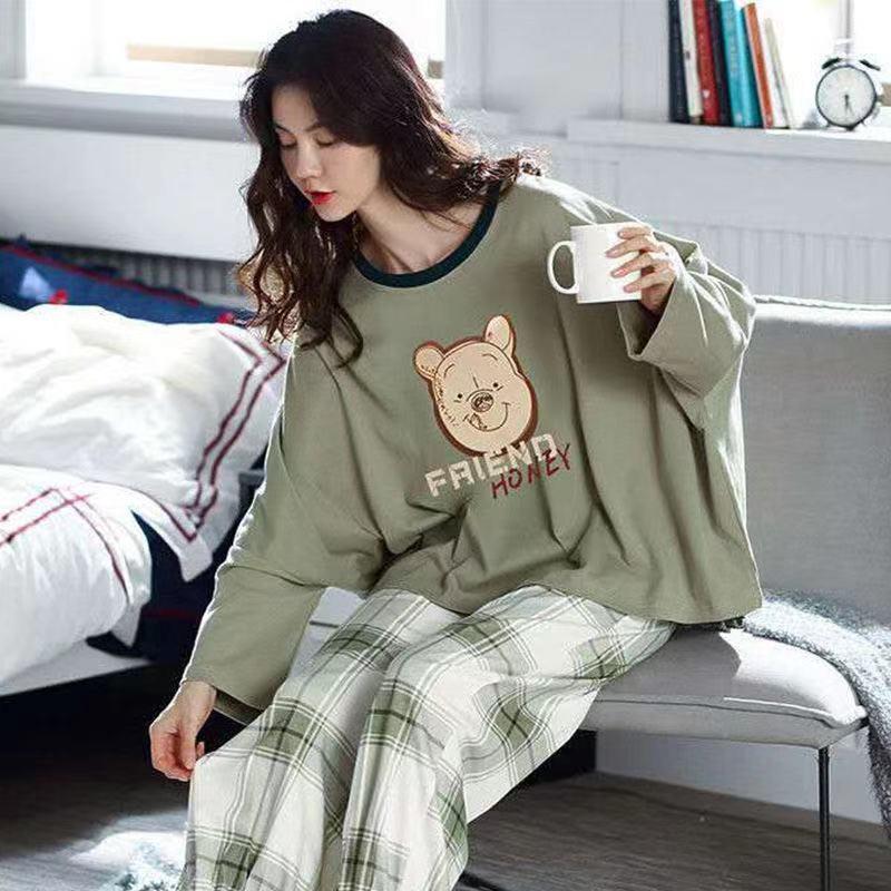 韩版睡衣女春秋学生潮流女士睡衣可爱舒适睡衣女夏学生家居服套装39.0